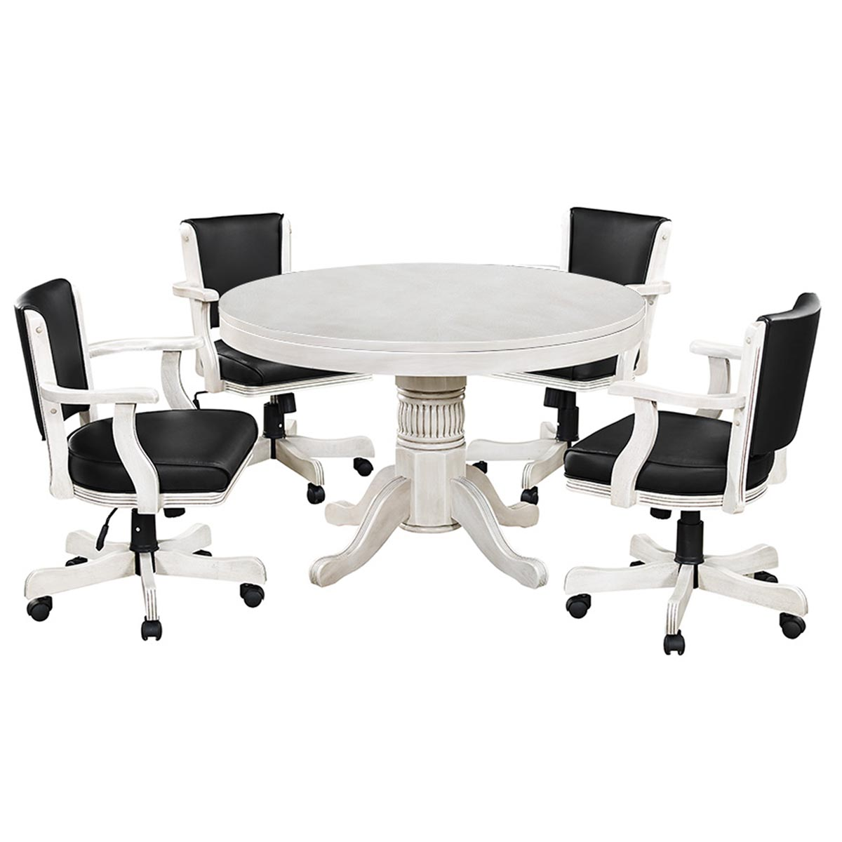 Antique White Finish with Optional Swivel Chairs